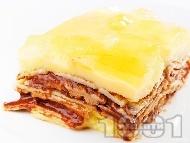 Палачинкова торта с нишестен крем ванилия, шоколад, сметана и алое вера (с желатин)